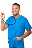 Portrait of male doctor with stethoscope Stock Images
