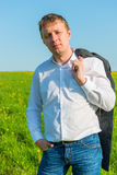 Portrait of male entrepreneur summer day. In the field Stock Images