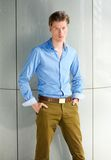Portrait of a male fashion model. Posing with hands in pocket Royalty Free Stock Images
