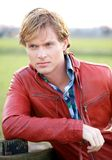 Male Fashion Model in Red Jacket Stock Images