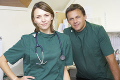 Portrait Of Male And Female Vets In Surgery Stock Images