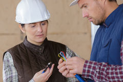 Portrait male and female workers. Portrait of male and female workers Stock Photography