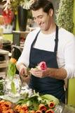 Portrait Of Male Florist In Shop Stock Images