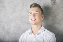Portrait of male in formal shirt. Close up portrait of attractive european male in formal shirt Stock Images