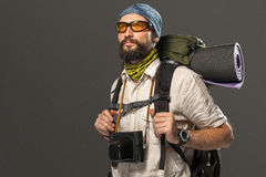 Portrait of a male fully equipped tourist Stock Photos