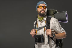 Portrait of a male fully equipped tourist Royalty Free Stock Photo
