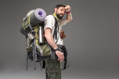 Portrait of a male fully equipped tourist Stock Images