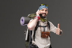 Portrait of a male fully equipped tourist Stock Photography