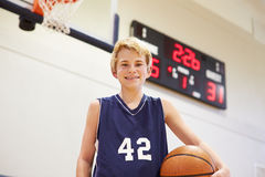 Portrait Of Male High School Basketball Player Stock Images