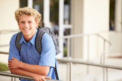 Portrait Of Male High School Student Outdoors Royalty Free Stock Photography