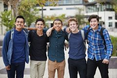 Portrait Of Male High School Students Outside College Buildings stock images