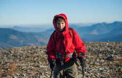 Portrait of male hiker on the top of the mountain Royalty Free Stock Photography