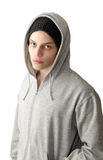 Portrait male - With hood shirt Stock Photos