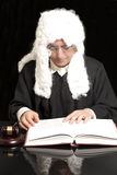 Portrait Of Male Lawyer With Judge Gavel And Book. On black background royalty free stock photos