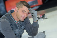 Portrait male mechanic smiling Royalty Free Stock Images