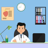 Portrait of male medicine heart doctor working at her office. Flat modern vector illustration Stock Images