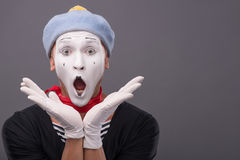Portrait of male mime with grey hat and white face Royalty Free Stock Photography