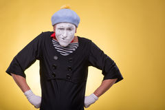 Portrait of male mime isolated on yellow Stock Images