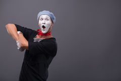 Portrait of male mime white funny face and Stock Photos