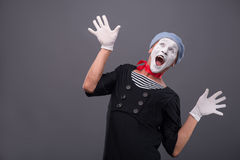 Portrait of male mime white funny face and Stock Image