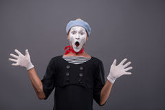 Portrait of male mime white funny face and Stock Images