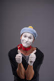 Portrait of male mime white funny face and Royalty Free Stock Photography