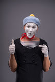 Portrait of male mime white funny face and Royalty Free Stock Photo
