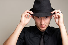 Portrait of male model in a hat Stock Photos