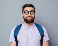 Portrait of a male nerd with funny face Stock Photos
