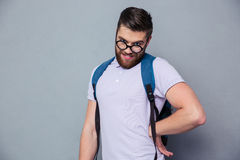 Portrait of a male nerd with funny face Royalty Free Stock Images