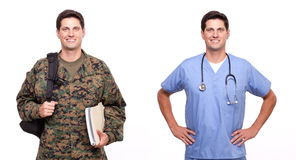 Portrait of a male nurse and a soldier with backpack and documen. Male nurse and soldier posing against white Stock Image