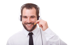 Portrait of male operator with headset. On white background Royalty Free Stock Photography