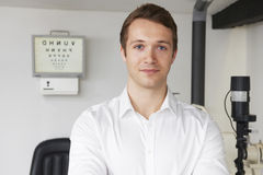 Portrait Of Male Optician In Optometrists. Portrait Of Optician In Optometrists Royalty Free Stock Image
