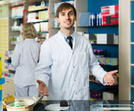 Portrait of male pharmacists working in modern farmacy Royalty Free Stock Photography