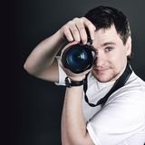 Portrait of the male photographer Royalty Free Stock Photos