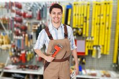 Portrait of a male plumber Stock Photo