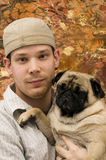 Portrait of Male and Pug royalty free stock image