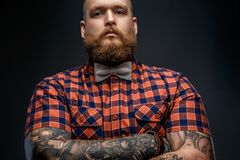 Portrait of male in red shirt and grey bow tie. Portrait of male in red shirt and grey bow tie with tattoes on his hands. Isolated on black Stock Images
