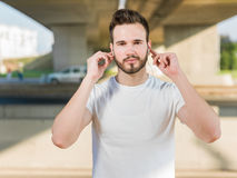 Portrait Of Male Runner after jogging Royalty Free Stock Images