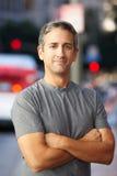 Portrait Of Male Runner On Urban Street Stock Images