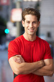 Portrait Of Male Runner On Urban Street Royalty Free Stock Photography