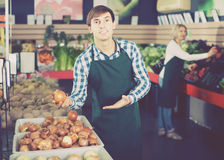 Portrait of male seller with stalks of garlic in grocery. Portrait of  happy european  male seller with stalks of garlic in grocery Stock Photos