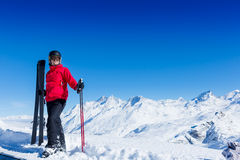 Portrait of male skier. Skier, skiing, winter sport - portrait of male skier Royalty Free Stock Image