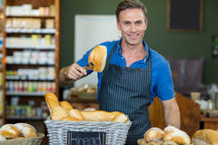 Portrait of male staff working at bakery store. In supermarket Stock Image