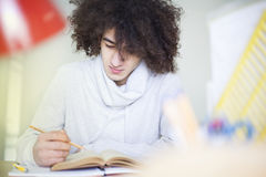Portrait of male student studying at table. Portrait of male student studying at the table Royalty Free Stock Photo