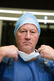 Portrait of male surgeon wearing surgical mask. In hospital Stock Image