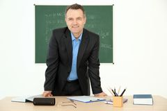 Portrait of male teacher. In classroom Royalty Free Stock Images
