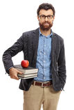 Portrait of a male teacher. On white background Stock Photo
