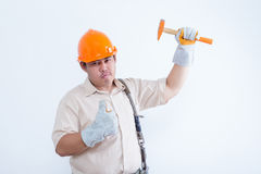 Portrait of male technician. Isolated on white background Stock Photos