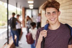 Portrait Of Male Teenage Student On College With Friends Royalty Free Stock Images